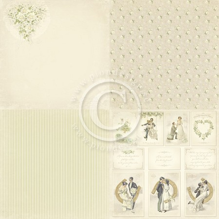 "Pion Design - Vintage Wedding Collection - 12""x12"" Single Sided cardstock - 6x Bridal Bouquet"