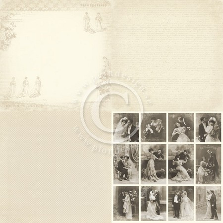 "Pion Design - Vintage Wedding Collection - 12""x12"" Single Sided cardstock - 6x Wedding Dress"