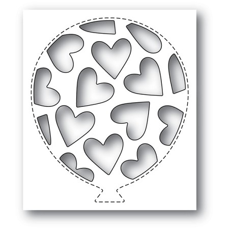 Poppy Stamps - Die - Tumbled Heart Balloon Collage