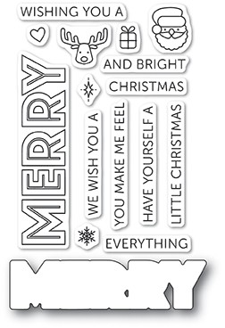 Poppy Stamps - Clear Stamp Set - Merry Everything (with die)