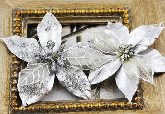 Prima Extra Large Holiday Poinsettia - Silver :)