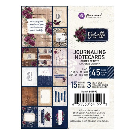 Prima - Darcelle Collection - 3x4 Journaling Cards