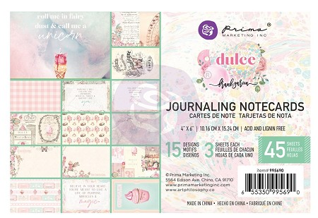 Prima - Dulce Collection - 4x6 Journaling Cards