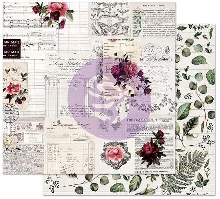 "Prima - Midnight Garden Collection - Rose Receipts 12""x12"" Cardstock (foil accent)"