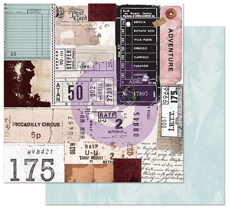 "Prima - Midnight Garden Collection - Traveling Tickets 12""x12"" Cardstock (foil accent)"