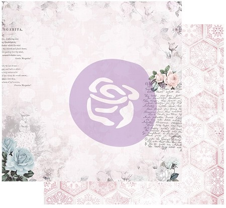 "Prima - Poetic Rose Collection - Waiting for the One 12""x12"" Cardstock (foil accent)"