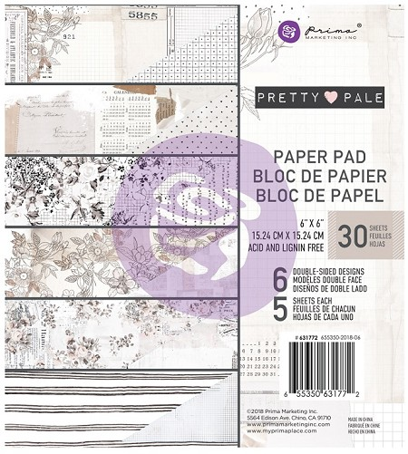 Prima - Pretty Pale Collection - 6x6 Paper Pad