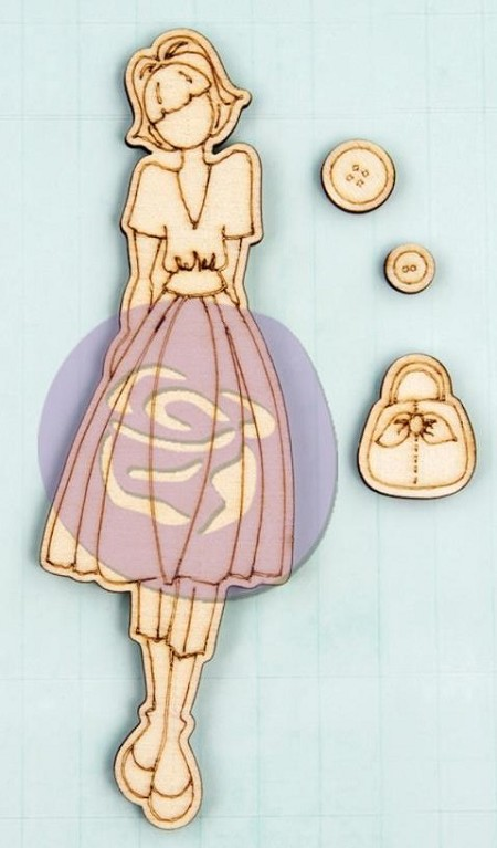 Prima - Mixed Media Laser Cut Wood Doll Shapes - Naomi by Julie Nutting