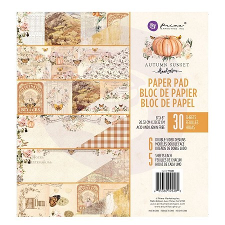 Prima - Autumn Sunset Collection - 8x8 Paper Pad