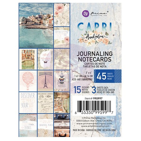 Prima - Capri Collection - 3x4 Journaling Cards