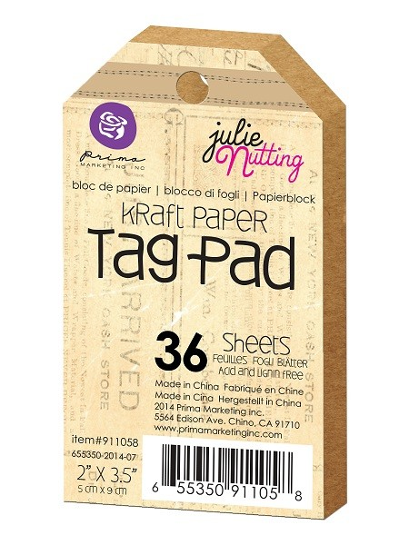 "Prima - Mixed Media Tag pad by Julie Nutting - 2""x3.5"" Kraft paper tag pad :)"