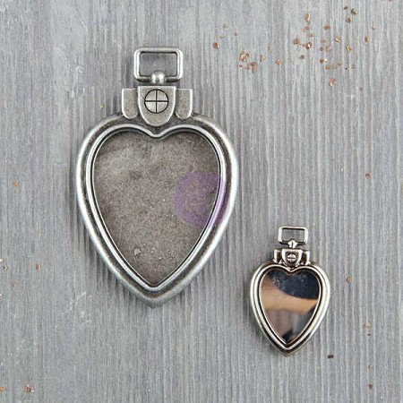 Prima - Finnabair Vintage Mechanicals - Heart Locket Pendants