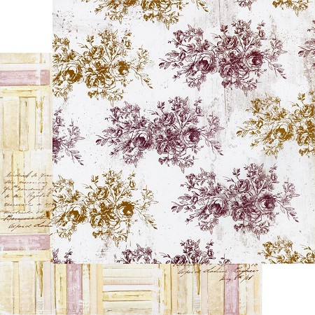 "Prima - Pretty Mosaic Collection - Floral Toile 12""x12"" paper"