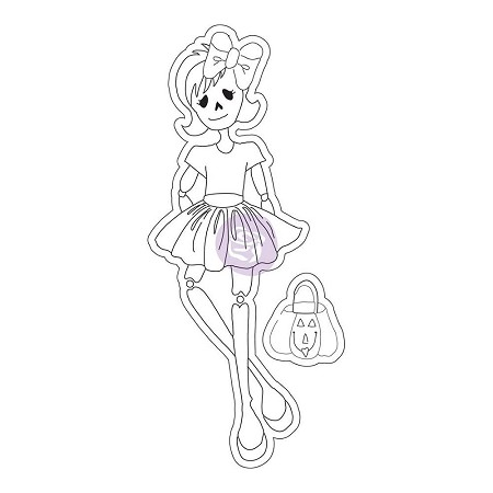 Prima - Cling Mounted Rubber Stamp - Mixed Media Doll by Julie Nutting - Skelly :)