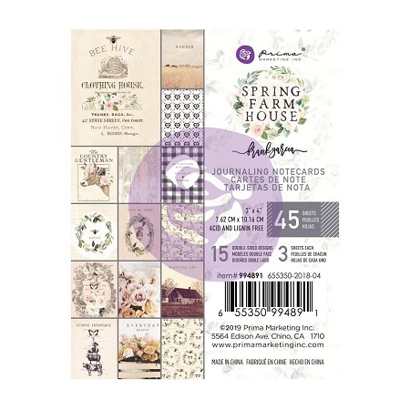 Prima - Spring Farmhouse Collection - 3x4 Journaling Cards