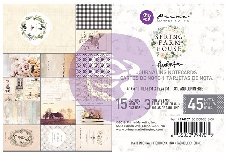 Prima - Spring Farmhouse Collection - 4x6 Journaling Cards