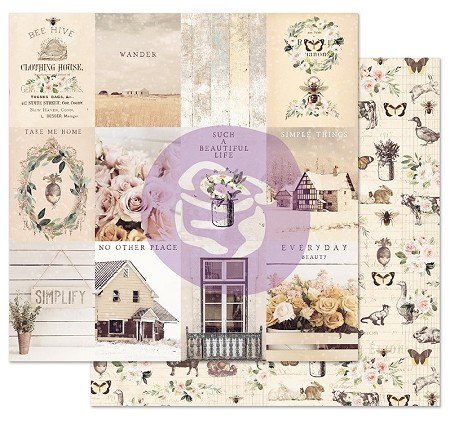 "Prima - Spring Farmhouse Collection - Simple Things 12""x12"" Cardstock (foil accent)"