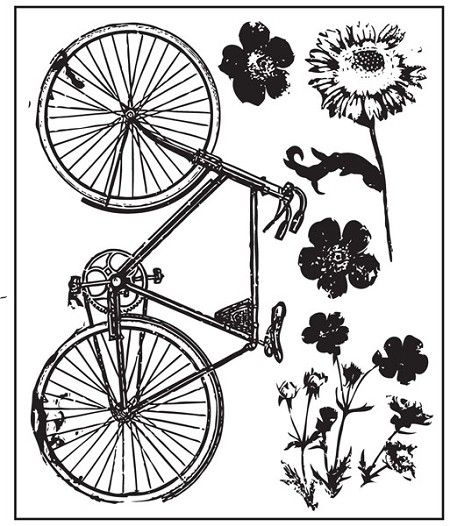 Prima - Sun Kiss - Clear Stamp - bicycle