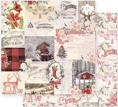 "Prima - Christmas In The Country Collection - Compliments of the Season 12""x12"" paper"