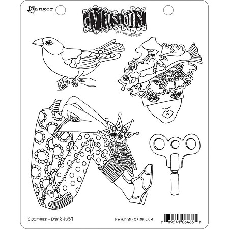 Dylusions - Cling Rubber Stamps - Clockwork