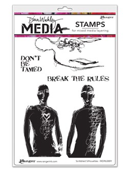 Stamper's Anonymous/Ranger - Dina Wakley Media - Cling Mounted Rubber Stamp Set - Scribbled Silhouettes