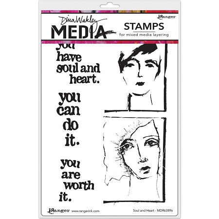 Stamper's Anonymous/Ranger - Dina Wakley Media - Cling Mounted Rubber Stamp Set - Soul & Heart