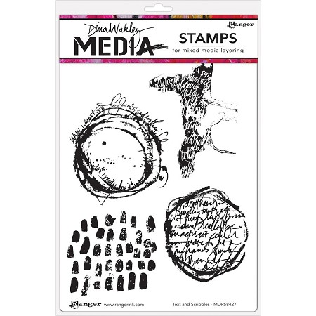 Ranger - Dina Wakley Media - Cling Mounted Rubber Stamp Set - Text & Scribbles