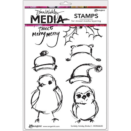 Ranger - Dina Wakley Media - Scribbly Holiday Birdie 2 Cling Mounted Rubber Stamp Set