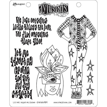 Dylusions - Cling Rubber Stamps - Let Me Adjust My Crown