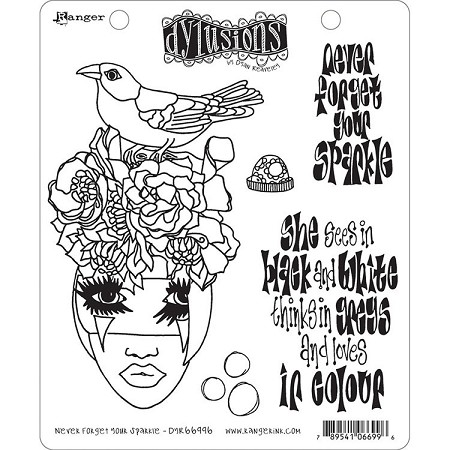 Dylusions - Cling Rubber Stamps - Never Forget Your Sparkle