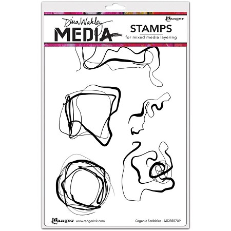 Ranger - Dina Wakley Media - Cling Mounted Rubber Stamp Set - Organic Scribbles