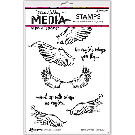 Ranger - Dina Wakley Media - Cling Mounted Rubber Stamp Set - Scribbly Wings