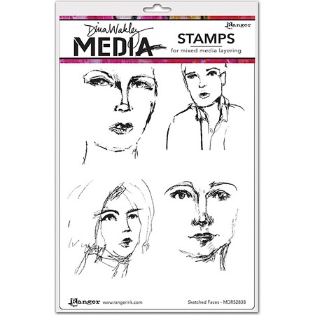 Ranger - Dina Wakley Media - Cling Mounted Rubber Stamp Set - Sketched Faces