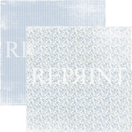 Reprint - Dusty Blue Small Blue Flowers 12x12 cardstock
