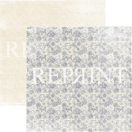 Reprint - Dusty Blue Small Roses 12x12 cardstock