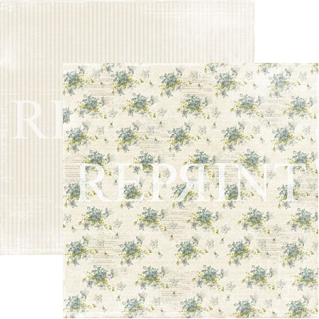 Reprint - Dusty Blue Spring Flowers 12x12 cardstock