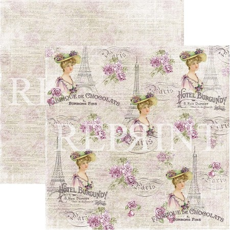 Reprint - Lilac Paris French Lady 12x12 cardstock