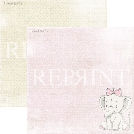Reprint - Sweet Baby Pink Elephant 12x12 cardstock