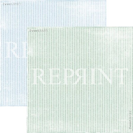 Reprint - Sweet Baby Blue Stripes 12x12 cardstock