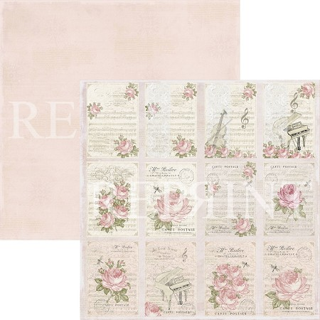 Reprint - Music and Roses Tags 12x12 cardstock
