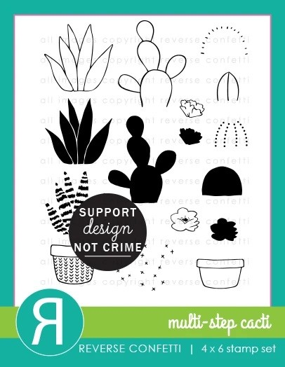 Reverse Confetti - Clear Stamps - Multi-step Cacti