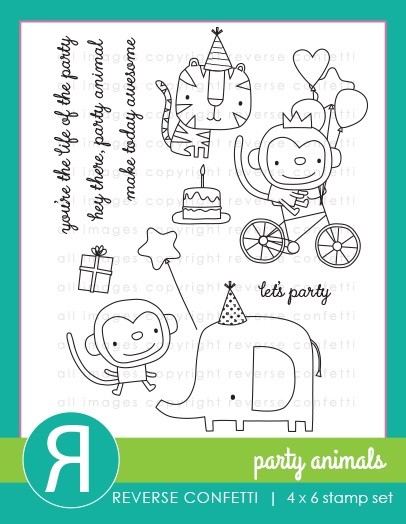 Reverse Confetti - Clear Stamps - Party Animals