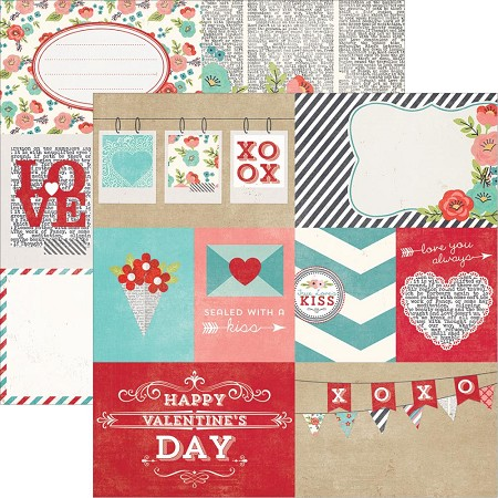 "Simple Stories - Hugs & Kisses Collection - 12""x12"" double side cardstock - Elements #1"