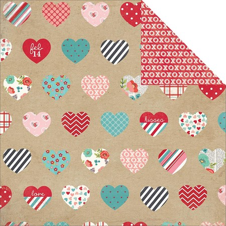"Simple Stories - Hugs & Kisses Collection - 12""x12"" double side cardstock - Heartthrob"