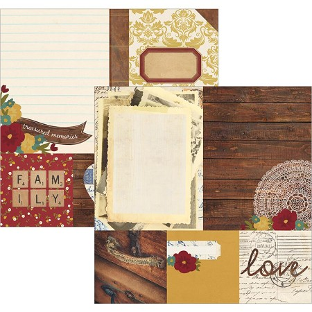 "Simple Stories - Legacy Collection - 12""x12"" Double-Sided Cardstock - 4x4 Quotes & 6x8 Photo Mat Elements"