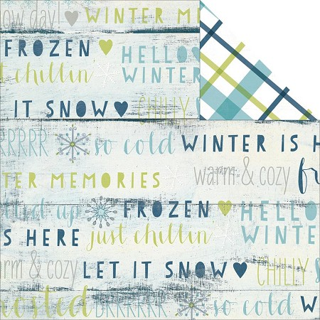 "Simple Stories - Snow Fun Collection - 12""x12"" double side cardstock - Frostbite"