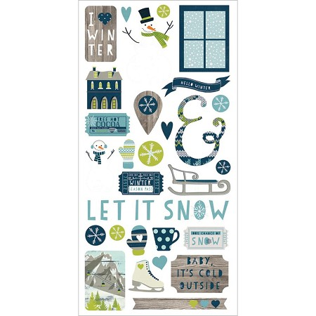 "Simple Stories - Snow Fun Collection - 6""x12"" sticker sheet - Fundamentals"