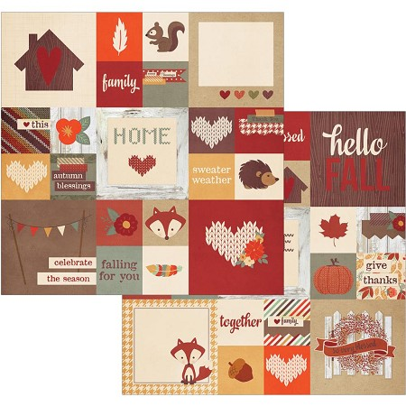 "Simple Stories - Sweater Weather Collection - 12""x12"" Double-Sided Cardstock - 2x2 and 4x4 Insta-Square Elements"