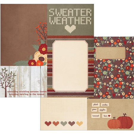"Simple Stories - Sweater Weather Collection - 12""x12"" Double-Sided Cardstock - 4x4 and 6x8 Journaling Card Elements"