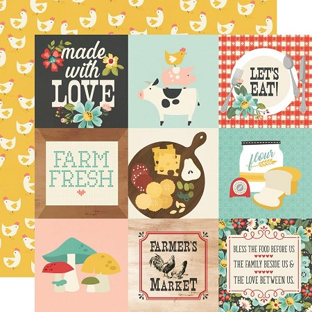 "Simple Stories - Apron Strings collection - 4""X4"" Elements 12x12 cardstock"